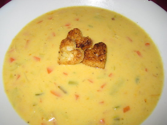 Cheddar Beer Soup With Heart-Shaped Croutons