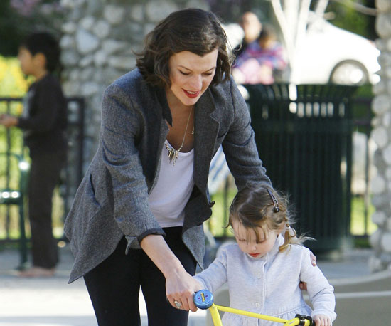 Slide Photo of Milla Jovovich and Daughter Ever at the Park