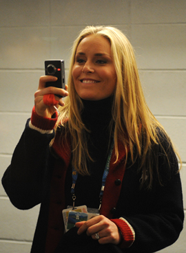 Lindsey Vonn and Flip Camera at the 2010 Vancouver Winter Olympic Games