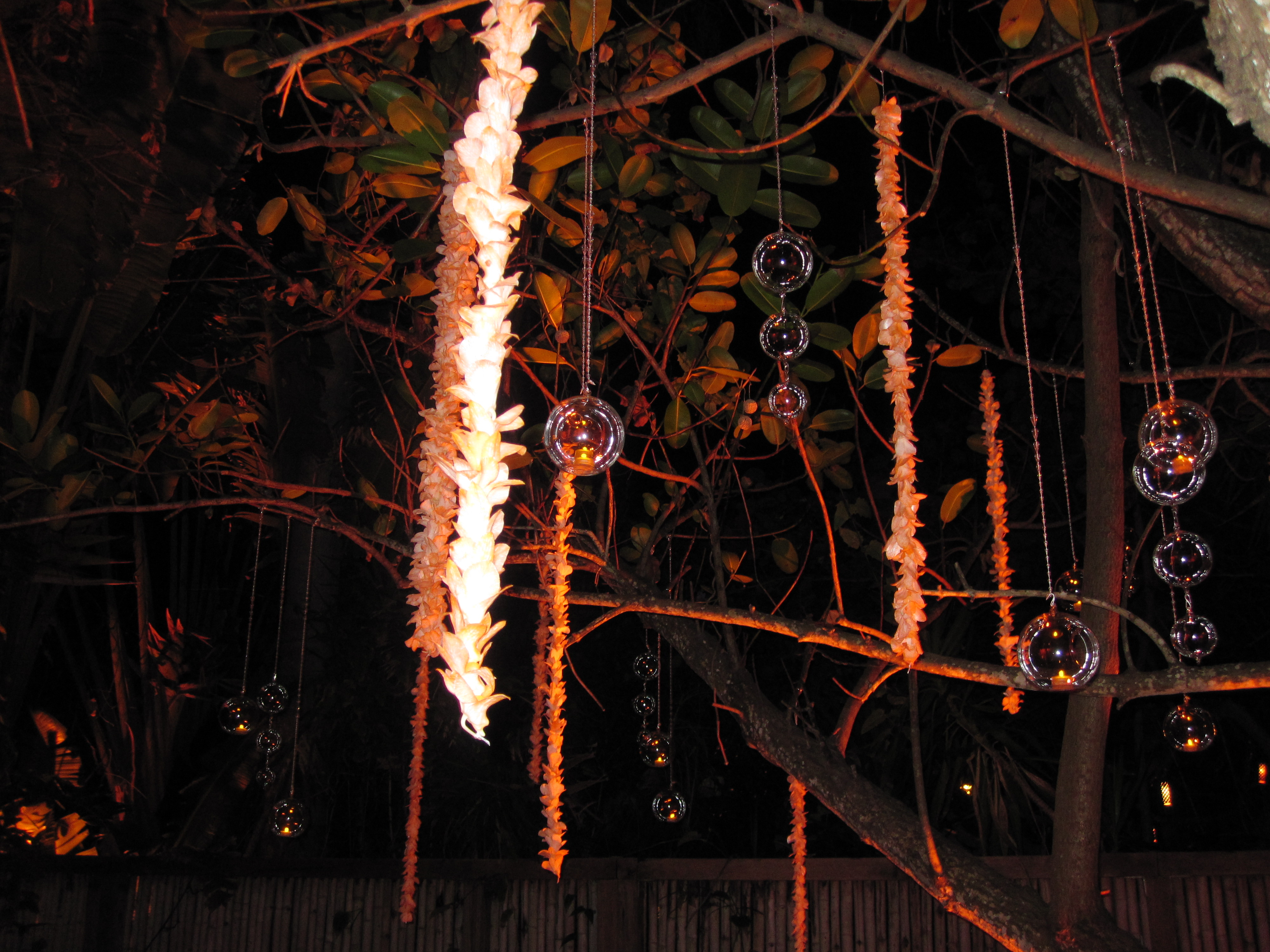 I loved the decorations: Hanging leis and glowing glass globes with candles. I'm definitely going to steal these ideas for a future party!