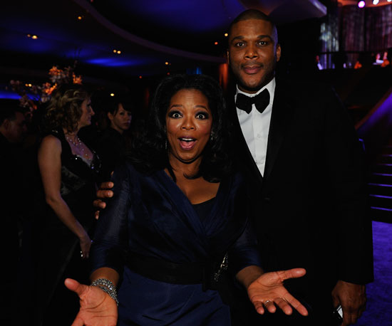 Slide Photo of Oprah Winfrey and Tyler Perry at Oscar Party