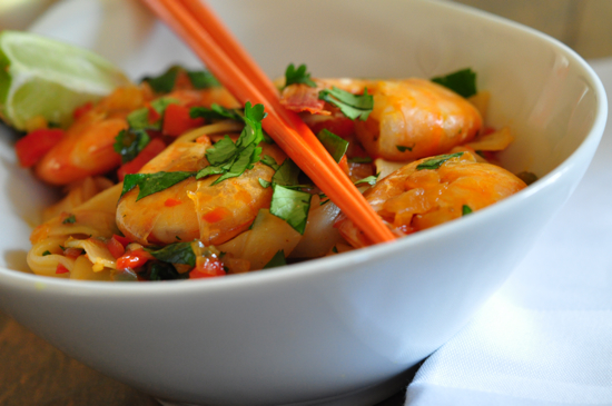 Shrimp, Cilantro and Rice Noodles