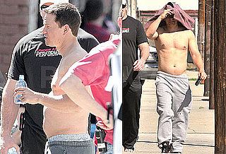 Photos of Shirtless Mark Wahlberg on the Set of The Fighter in LA