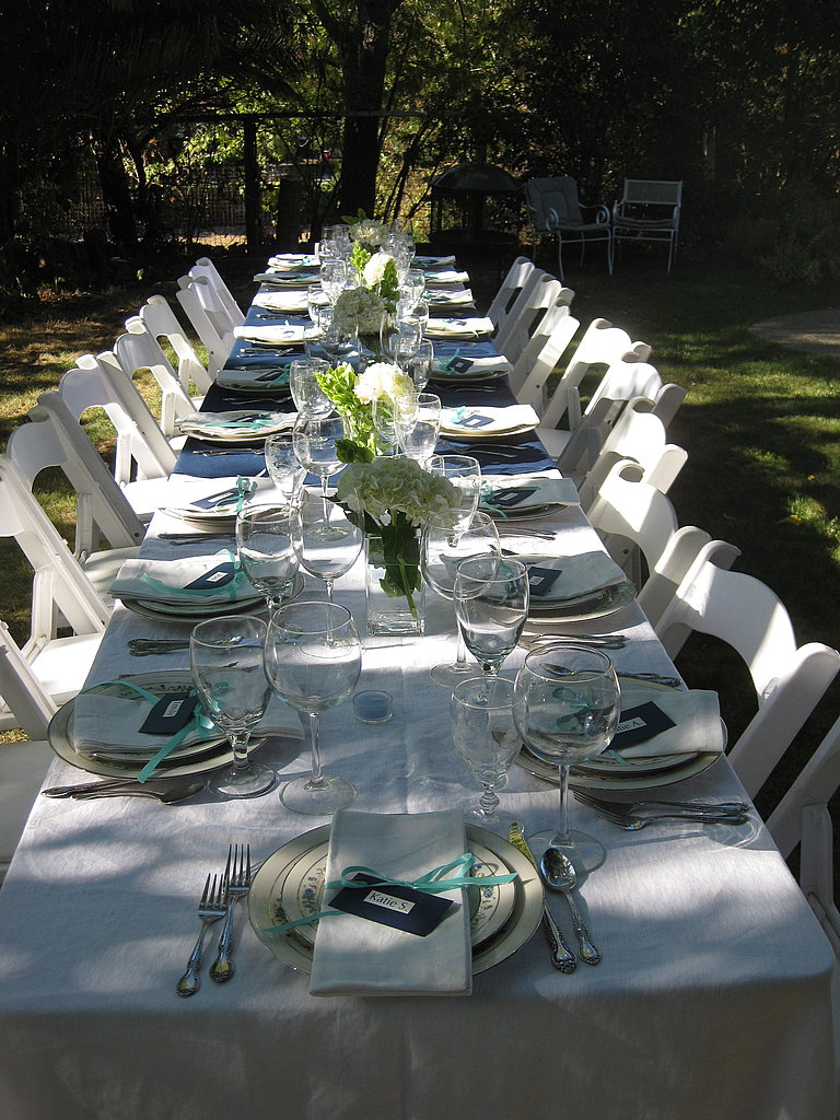 Like Gail Simmons, I prefer rectangular tables because they stimulate conversation. The table was set with white and navy cloths and my mom's good china.