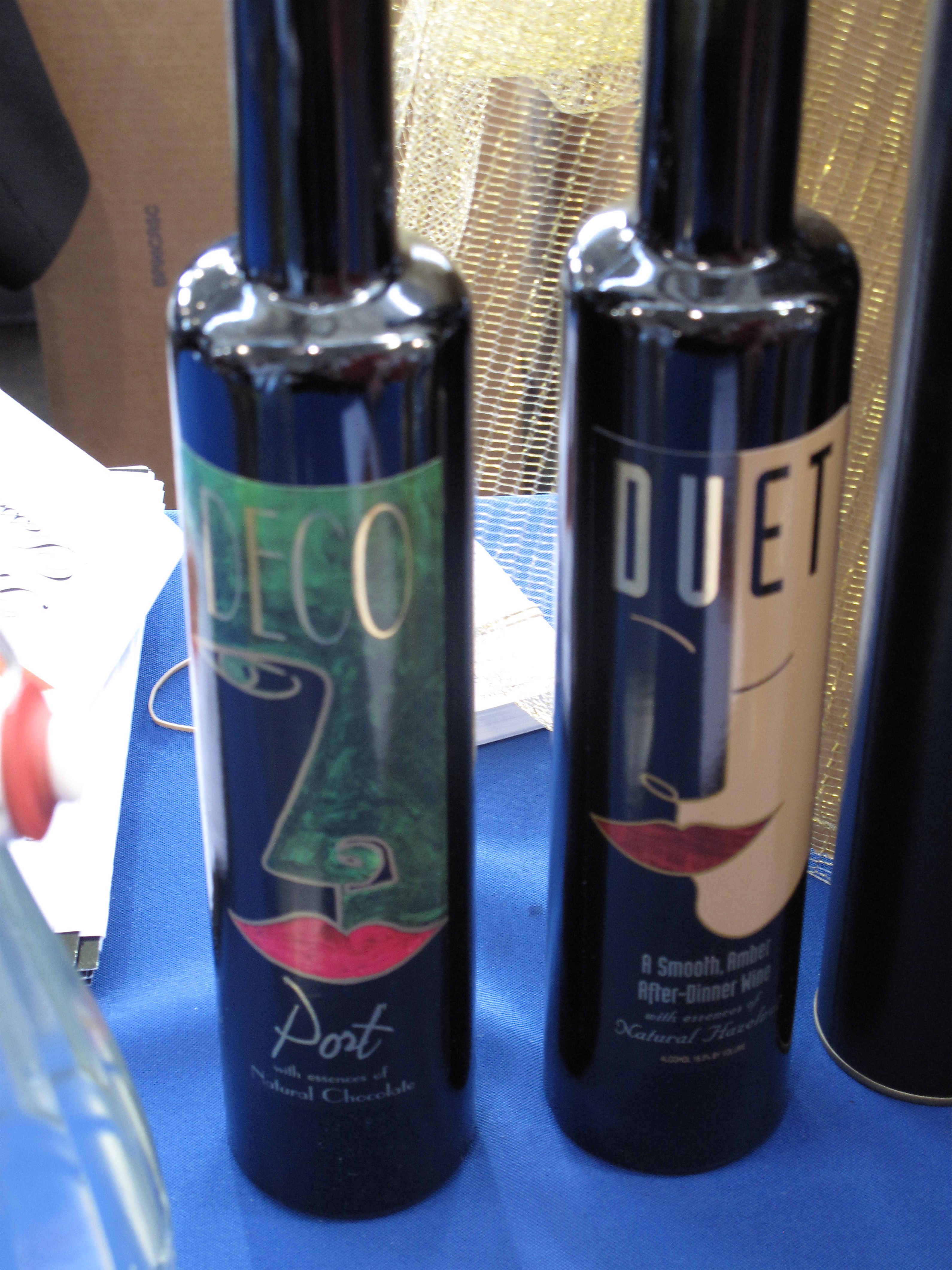 Despite the cheesy wine labels, I was a fan of the Deco Port wines that were being poured with chocolate.<br />