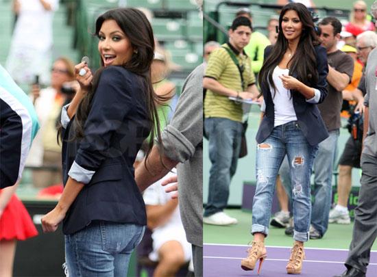 Photos of Kim Kardashian Tossing a Coin at the Miami Open Tennis Tournament