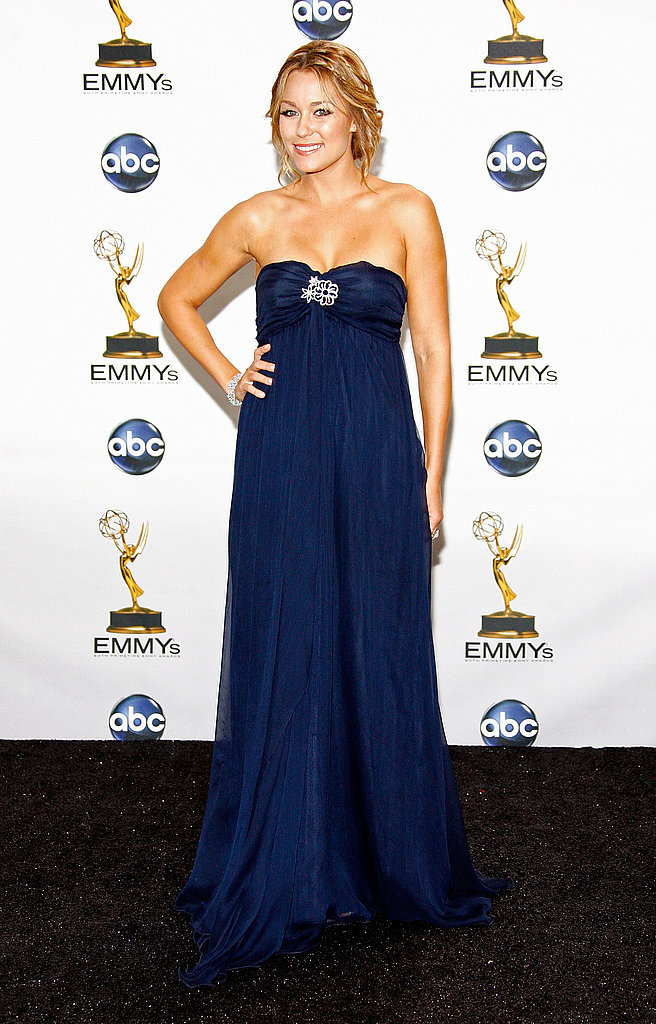 At the 2008 Primetime Emmy Awards in a dress she designed herself.