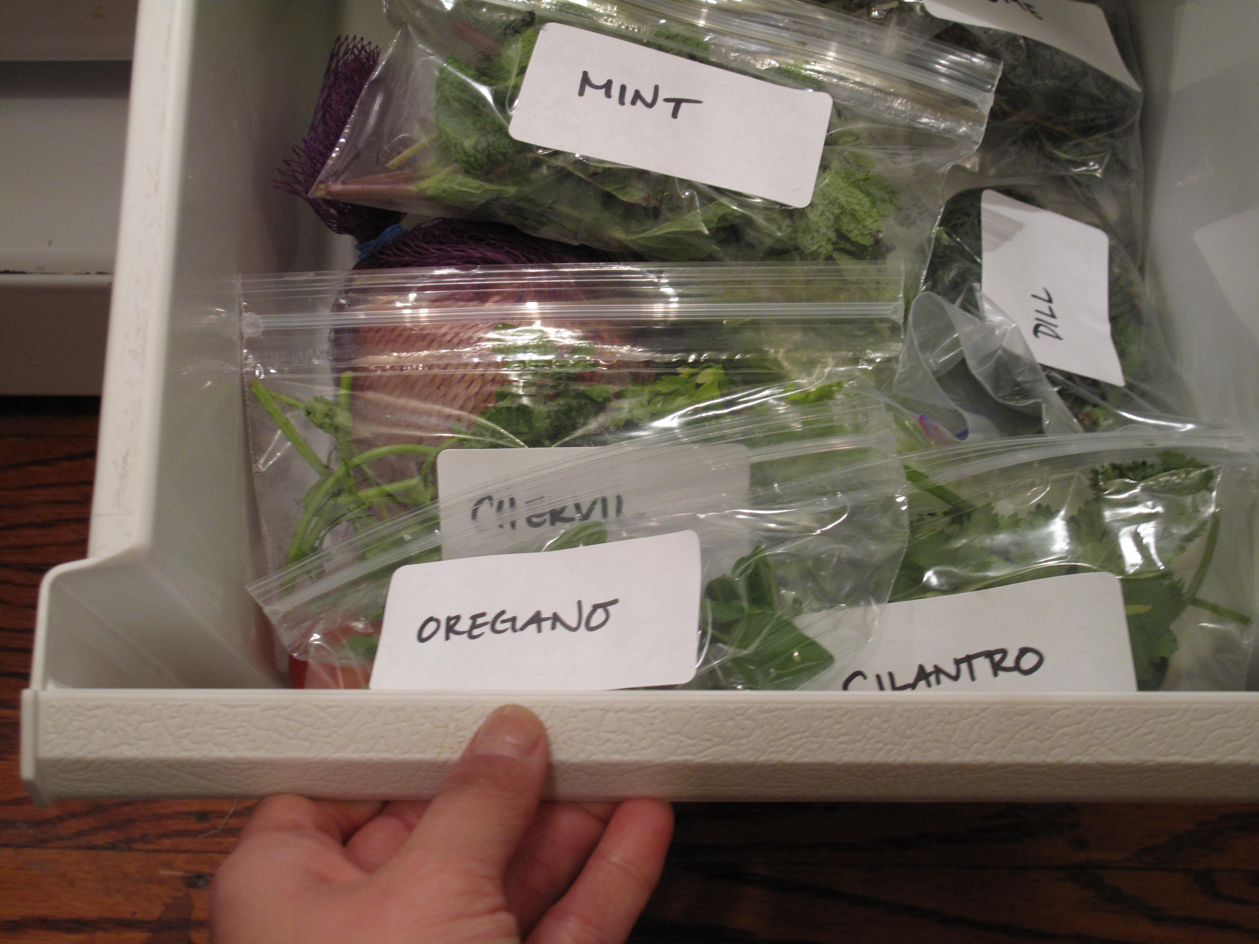 Label your herbs and spices so you know exactly what is in every bag. It only takes a minute, but it'll save tons of produce from going to waste.
