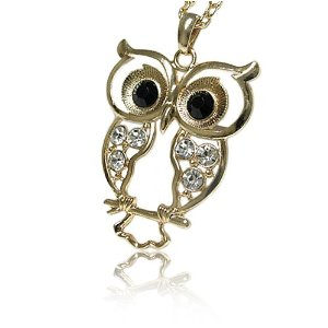 Gold Crystal Owl Pendant