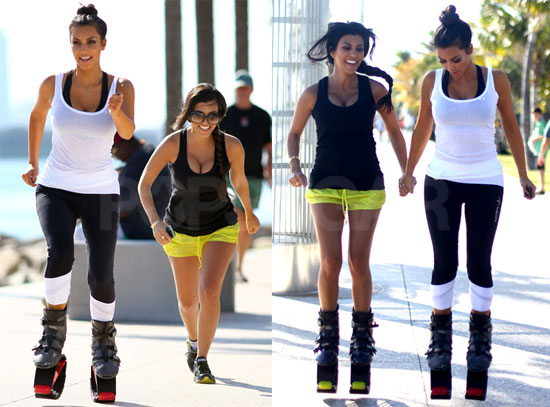 Pictures of Kim and Kourtney Kardashian Working Out With Pogo Jogging Equipment in Miami