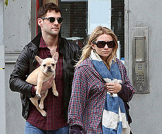 Slide Photo of Justin Bartha and Ashley Olsen With Their French Bulldog Puppy in NYC