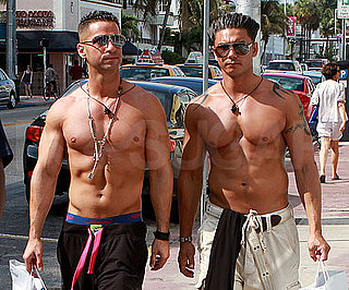 """Slide Picture of Mike """"The Situation"""" Sorrentino and Pauly D Shirtless in Miami"""