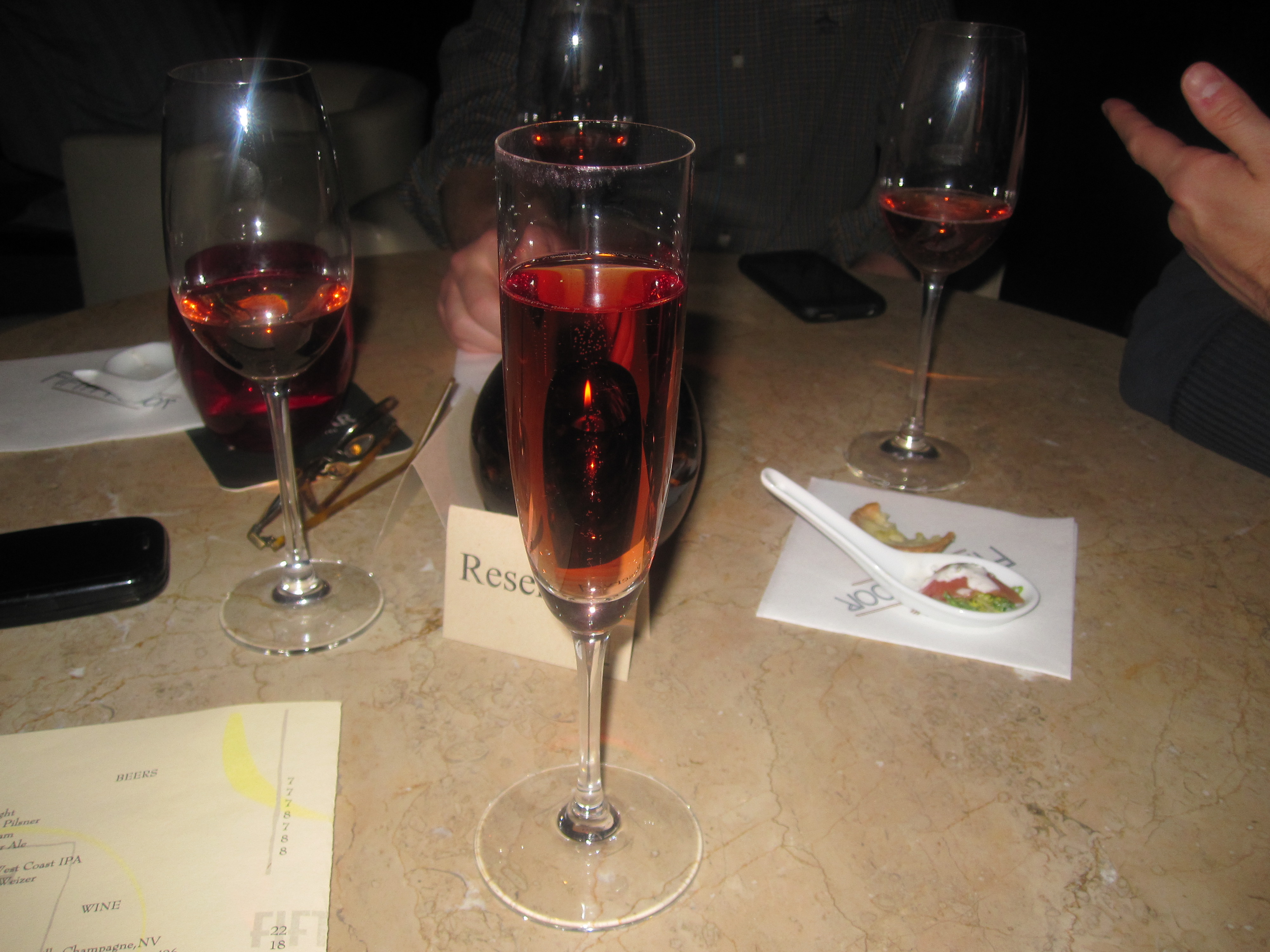 I was greeted with an excellent glass of sparkling rose.
