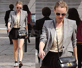Diane Kruger in Paris Wearing Oxford Shoes and Gray Blazer