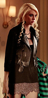Jenny Humphrey in Lace Dress and Motorcycle Jacket on Gossip Girl