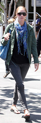 Nicky Hilton Carries Blue Goyard Bag Wears Blue Scarf to Shop at Fred Segal