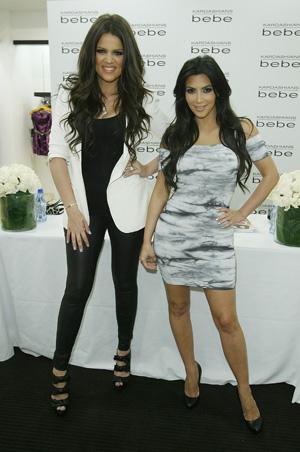Kim and Khloe Kardashian Discuss Being Curvy at Bebe Clothing Launch