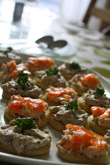 Homemade smoked salmon and mackerel paté blinis.