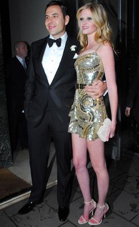 Photo of Lara Stone in Givenchy Mini Dress After Marrying David Walliams at Claridges