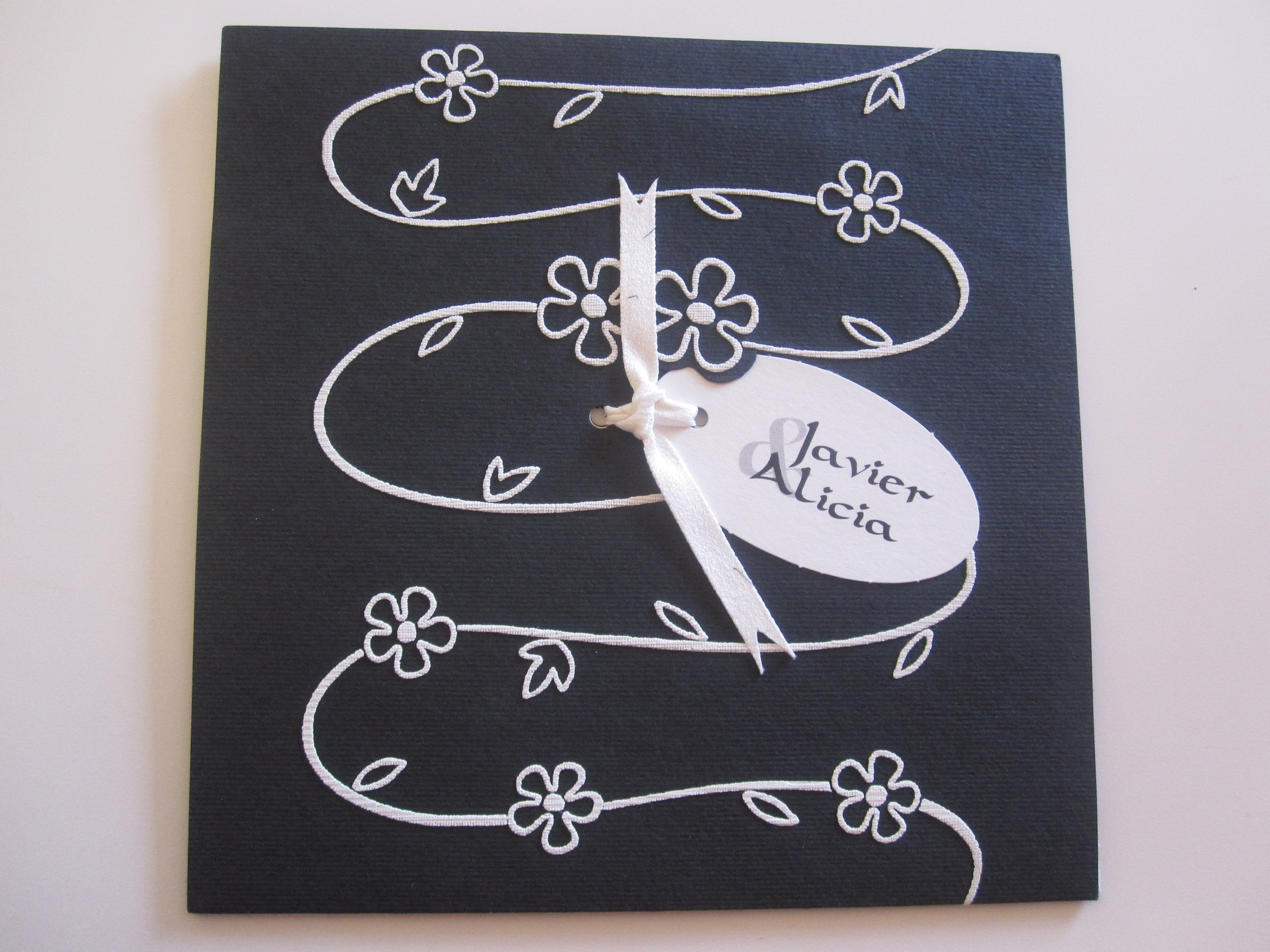 The couple is quite goth, so this was reflected in their black and white invitation.