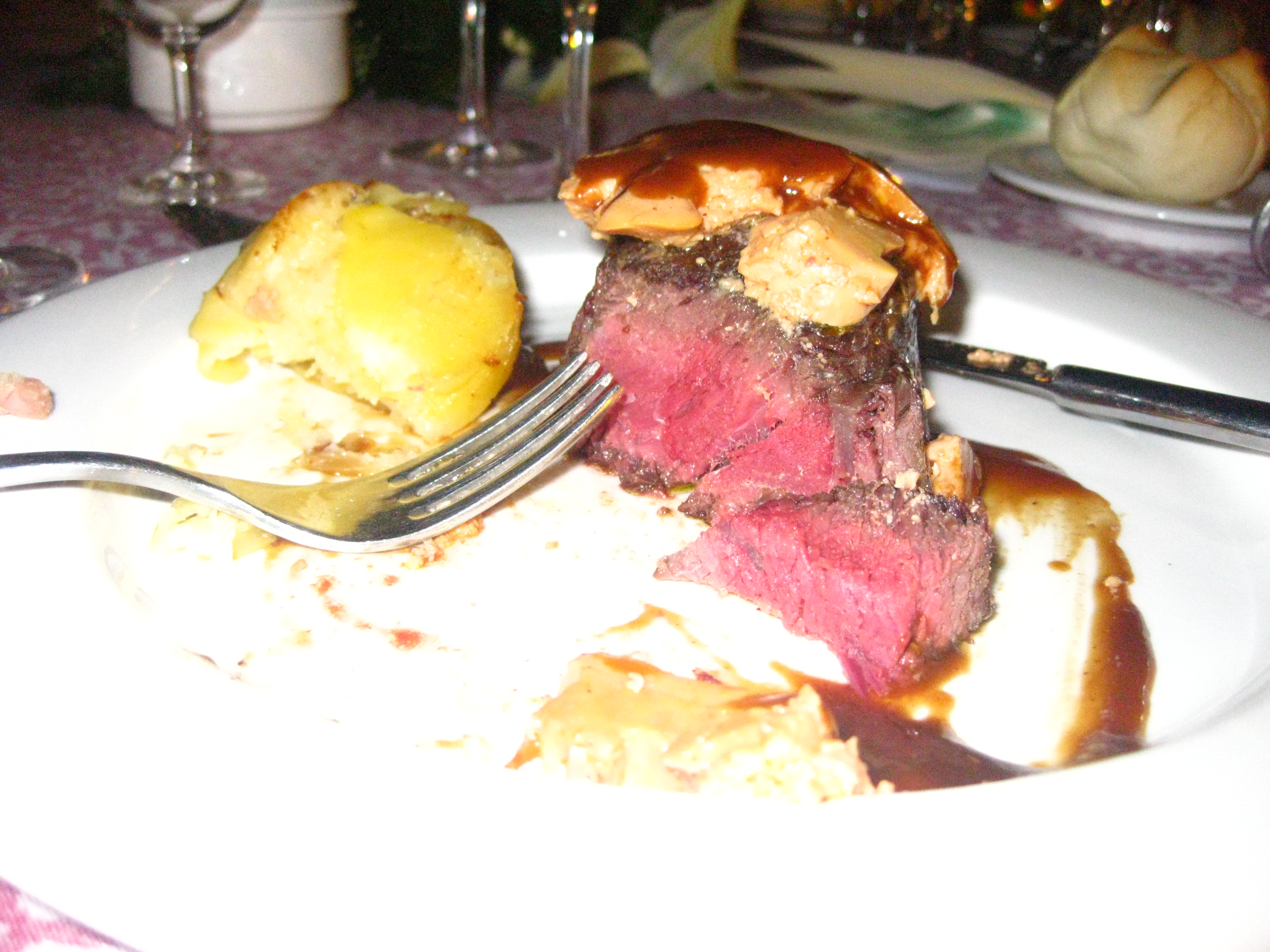 The main course was an absolutely divine fillet mignon with foie gras and bacon and potato cake.