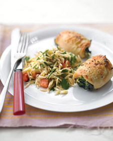 Spinach-and-Brie Chicken With Orzo Recipe