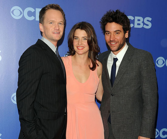 Slide Picture of Neil Patrick Harris, Josh Radnor, and Cobie Smulders at CBS Upfront
