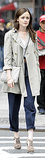 Alexis Bledel Wears Blue Chinos and Trench Coat in New York