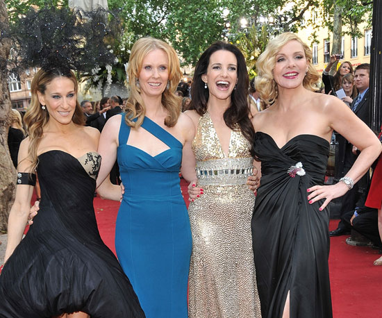 Slide Picture of SJP, Cynthia Nixon, Kristin Davis and Kim Cattrall at SATC 2 London Premiere