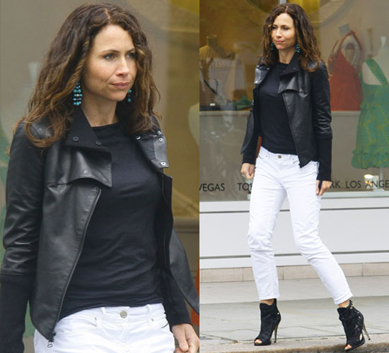 Minnie Driver Wears White Jeans and Leather Jacket in Notting Hill London