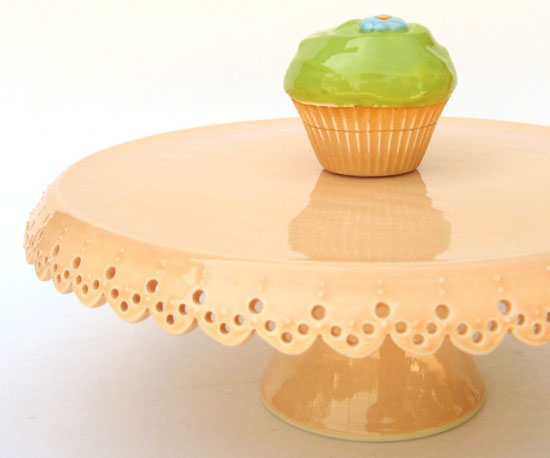 A lace-like peach stand ($280) would dress up a wedding tablescape with just the right amount of cute.