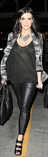 Kim Kardashian Traveled in Leather Pants, Tweed Jacket, LAMB Shoes and Givenchy Purse