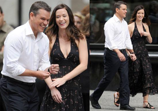Pictures of Matt Damon and Emily Blunt Filming The Adjustment Bureau