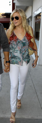 LeAnn Rimes Wears White Jeans and Brian Reyes Top to Lunch in Malibu