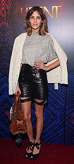 Alexa Chung Wears Black Leather Shorts