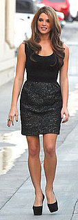 Ashley Greene Wears Black and Gray Dress on Jimmy Kimmel Live