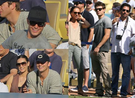 Zac Efron, Demi Moore, Ashton Kutcher, and Jack Nicholson at the Dodgers Game