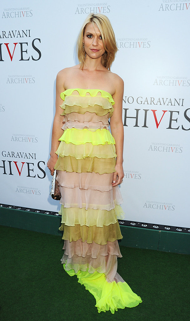 Claire Danes working a neon ruffled Valentino gown.