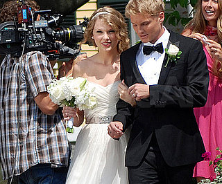 Slide Picture of Taylor Swift Wearing Wedding Dress Filming Music Video