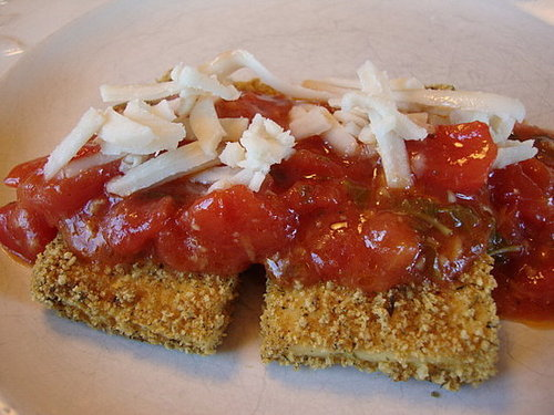 Breaded Tofu with Lemony Tomato Sauce