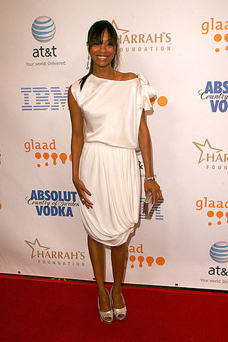Zoe in draped white at the 19th annual GLAAD Media Awards in '08.