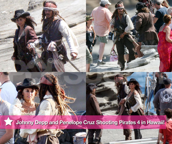 Pictures of Johnny Depp and Penelope Cruz in Hawaii Filming Pirates of the Caribbean 2010-07-27 16:50:39