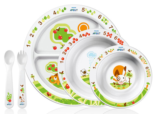 Pictures of Avent's Plates, Dishes, Forks, and Spoons
