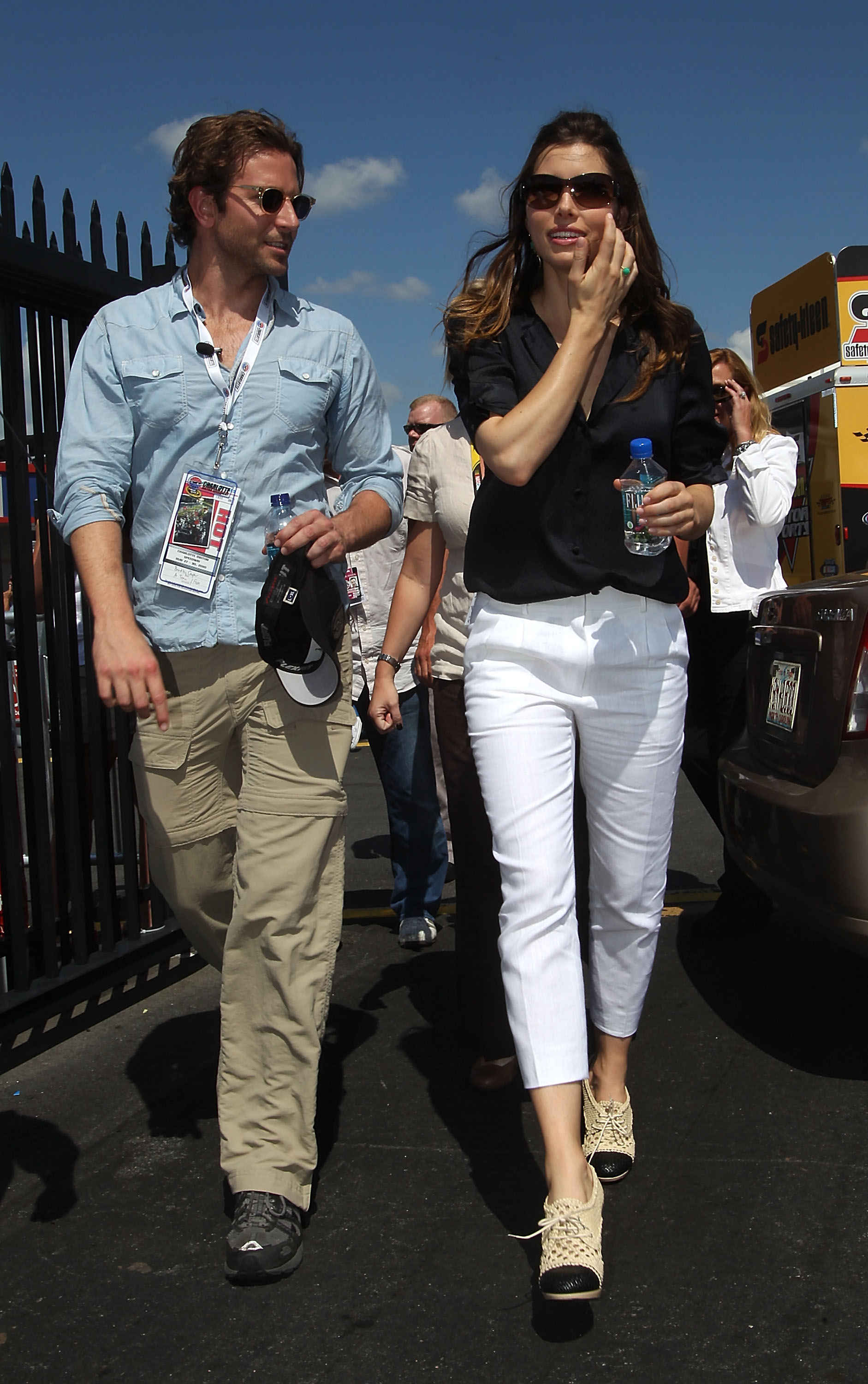 Jessica and costar Bradley Cooper went to the Coca-Cola 600 race, Jessica looking chic in white cropped pants, a navy top, and Dries van Noten booties. I was this close to buying them at the Barneys Warehouse sale.