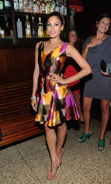 Eva, darling as always in a wild watercolor frock and ladylike Brian Atwood pumps. So festive.