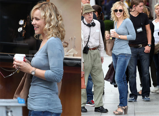 Pictures of Rachel McAdams on the Set of Midnight in Paris With Woody Allen