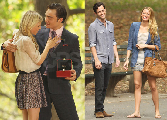 Pictures of Blake Lively, Ed Westwick, and Penn Badgley on the Set of Gossip Girl in NYC