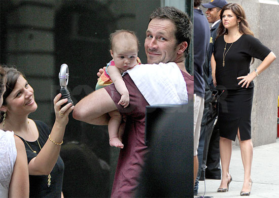 Pictures of Tiffani Thiessen With Baby Harper on the Set of White Collar in NYC
