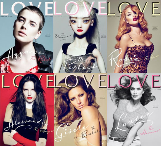 Pictures of Gisele, Rosie Huntington-Whiteley, Alessandra Ambrosio, Lauren Hutton, and Agyness Deyn on Love's New Covers