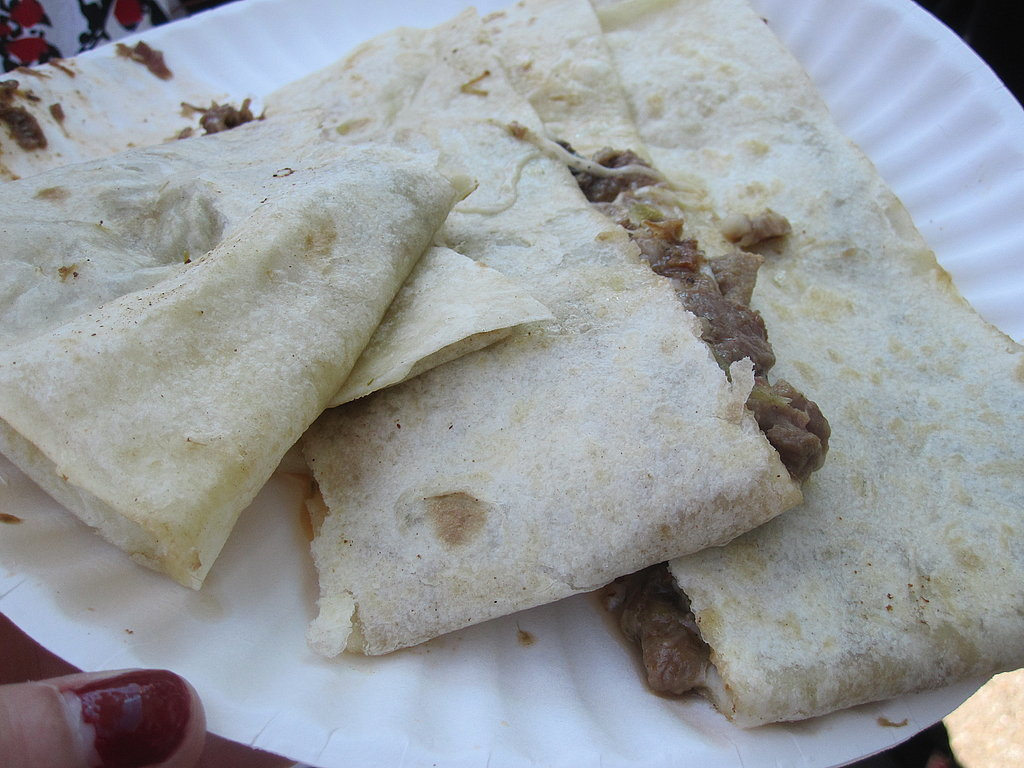 YumSugar ordered a lengua, tongue, quesadilla. It was so big that she shared some with me.